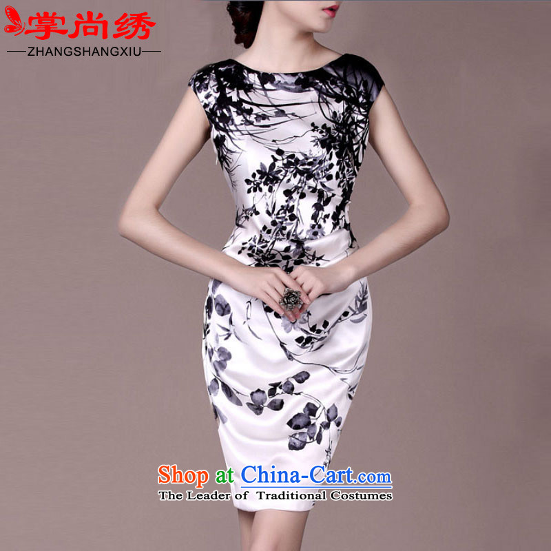 Your handheld is embroidered spring 2015 upscale silk stamp herbs extract heavyweight dresses qipao TH7065 white?S