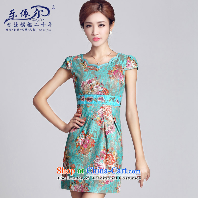 In accordance with the American lady's classical antique flower embroidery daily qipao cheongsam dress short spring new improved Sau San green?L