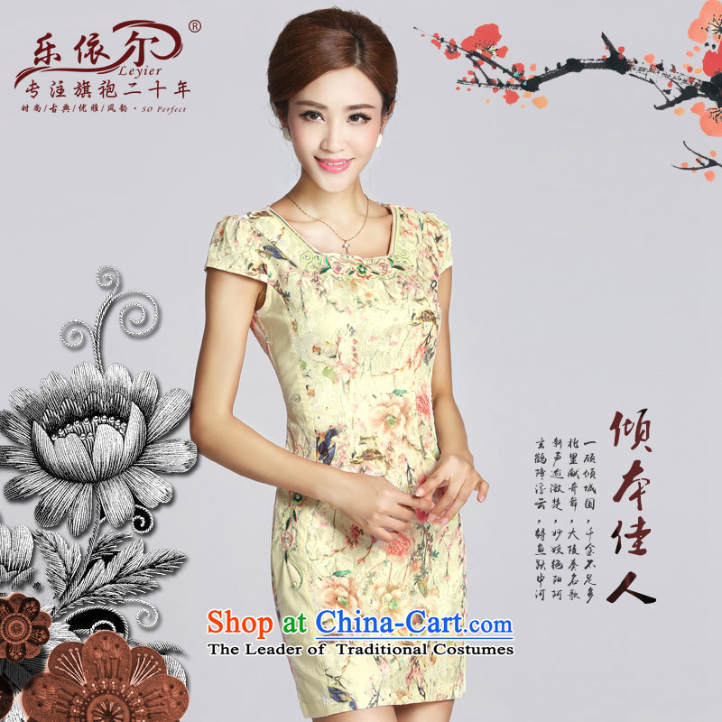 In accordance with the American's retro embroidery flower girl short of qipao cheongsam dress improvement of the day-to-day Sau San Gentlewoman燬pring 2015 female apricot燬