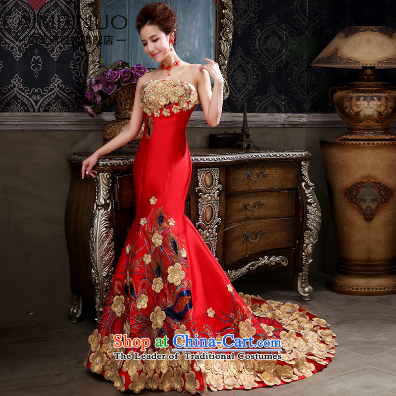 The HIV NEW 2015 marriages?Qipao Length of Chinese antique dresses crowsfoot bows services embroidery flowers and chest straps燪0049燫ED燬 code燺�9 feet燺 of the waist