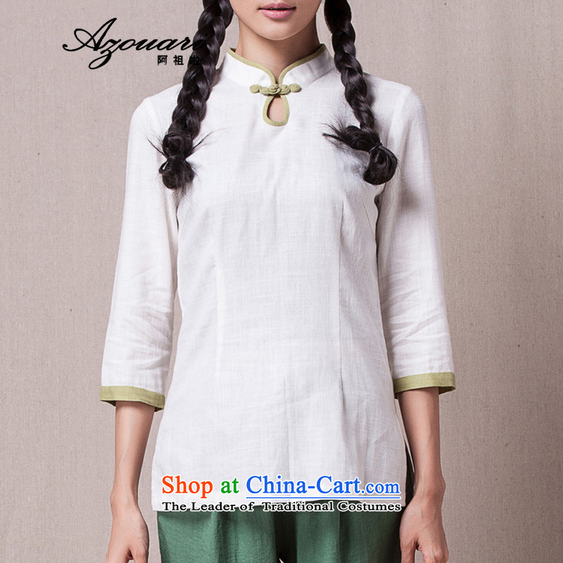 Azzu defense _azouari_ spring China wind improved Han-Dress Shirt 7 cuff qipao Sau San comfortable resident tea master Tea Service White?M