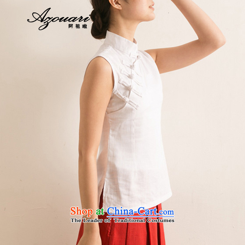 Azzu _azouari_ defense improved Chinese body sleeveless T-shirt female qipao qipao shirt white燣爍uality