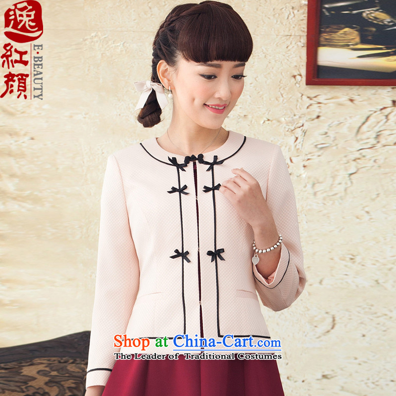 A Pinwheel Without Wind Yat Heung Ying new long-sleeved sweater spring and autumn 2015 ethnic Ms. replacing jacket Chinese commuter pink shirt燲L