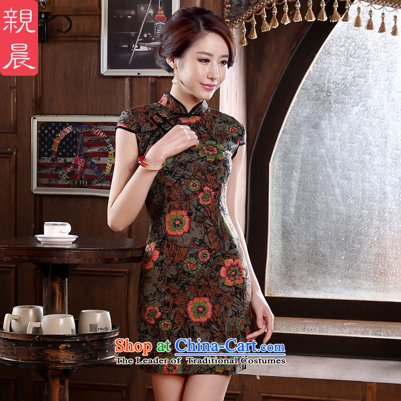 The elections as soon as possible the new 2015 pro-am, daily retro short-sleeved short Sau San, improvement of the forklift truck and stylish cotton cheongsam dress dark red?2XL- waist 80 cm