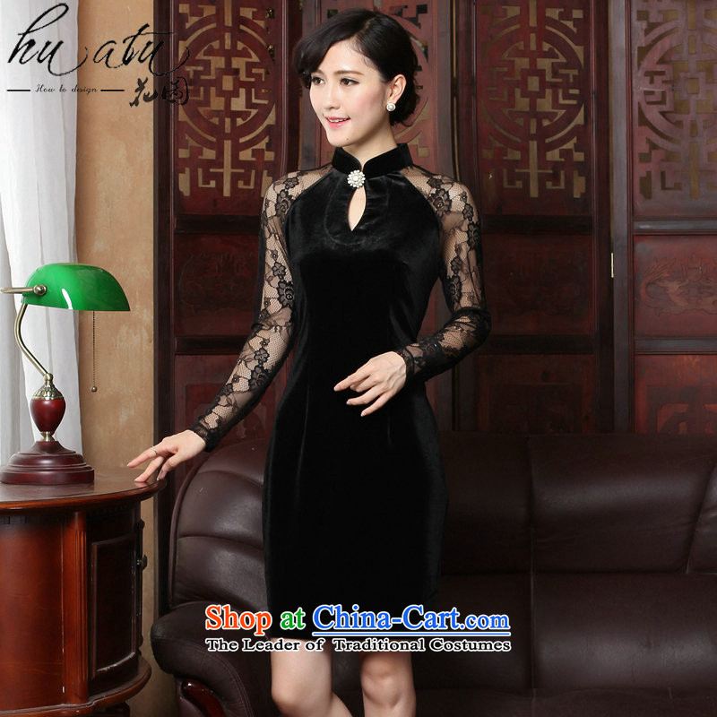 Floral spring and summer cheongsam dress manually staple pearl gold velour robes Mock-neck video wedding dresses thin temperament cheongsam dress black燣