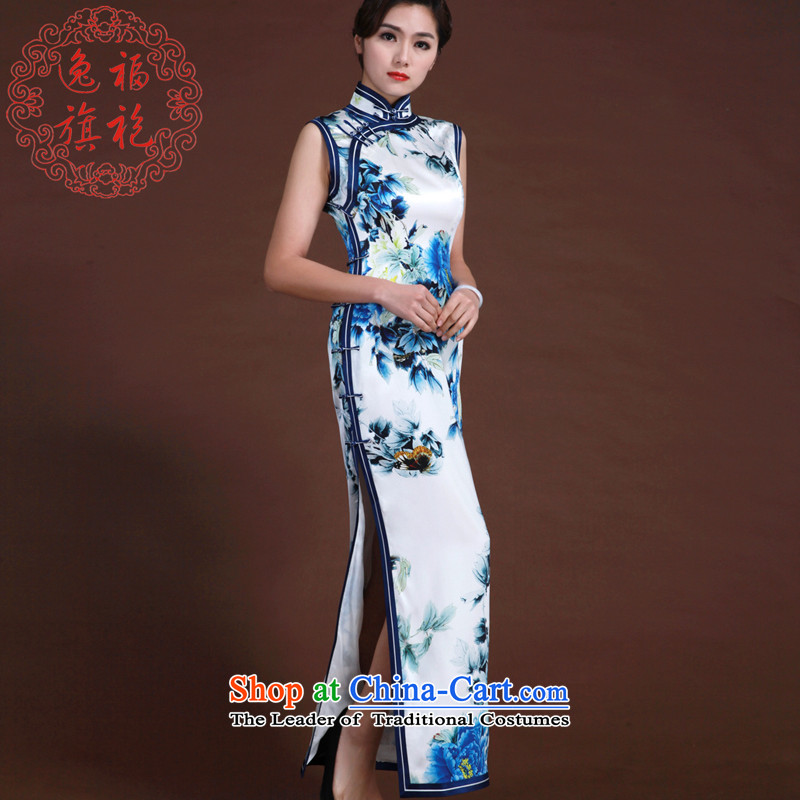 Il well Porcelain china wind dress high-end traditional handicraft silk cheongsam upscale poster long qipao porcelain S15 day shipping
