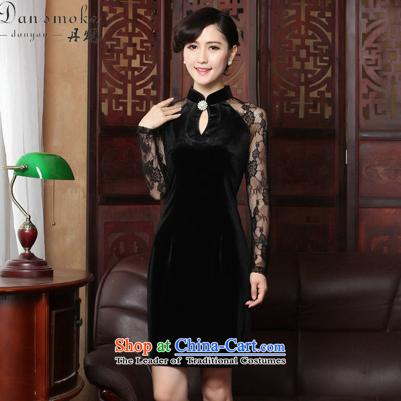 Dan smoke spring and summer cheongsam dress manually staple pearl gold velour robes Mock-neck video wedding dresses thin temperament qipao black?2XL