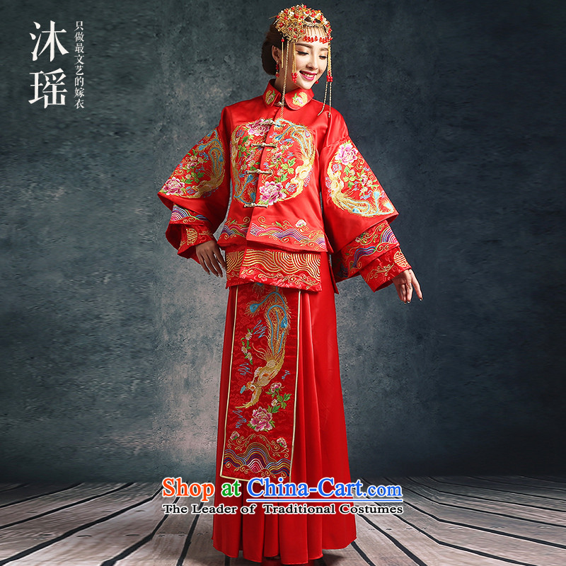 Bathing in the Chinese bows services-soo Yiu Wo Service 2 piece long-sleeved long of Chinese dragon costume use marriages wedding-soo and Foutune of large numbers of pregnant women marriage solemnisation red?1131-1 Upgrade?L?chest 106CM