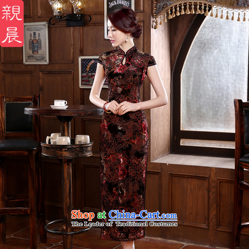 2015 new dulls long golden wedding of older velvet wedding dress cheongsam dress MOM pack skirt suits?L
