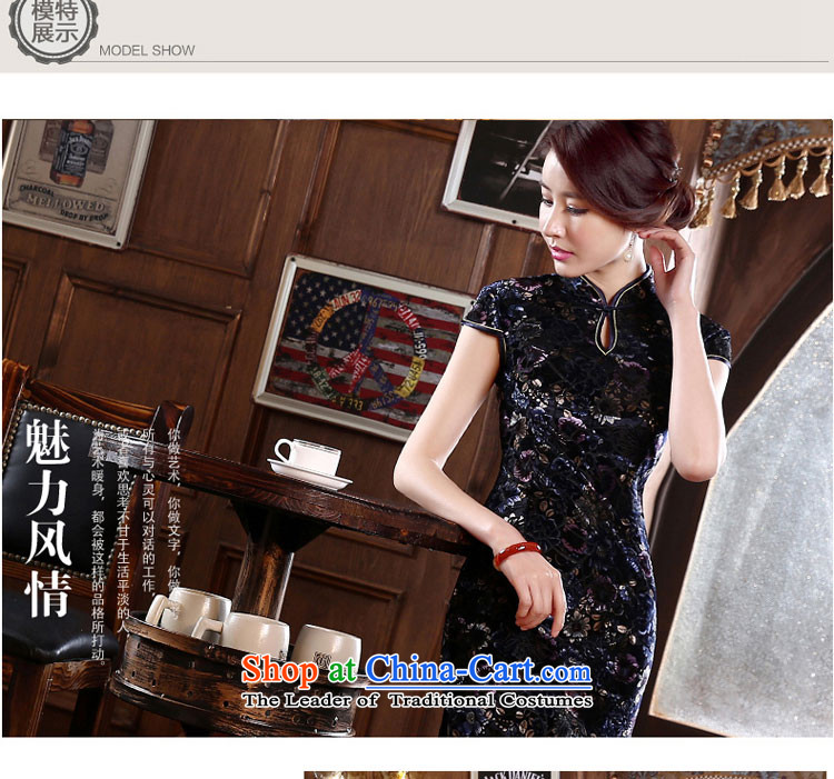 Wedding wedding mother Kim velvet cheongsam dress with the new 2015 Autumn summer long upmarket older dresses Black XL Photo, prices, brand platters! The elections are supplied in the national character of distribution, so action, buy now enjoy more preferential! As soon as possible.