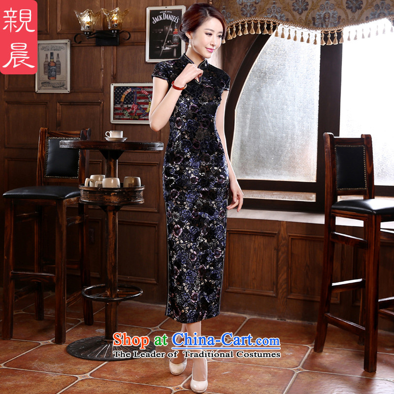 Wedding wedding mother Kim velvet cheongsam dress with the new 2015 Autumn summer long upmarket older dresses Black燲L