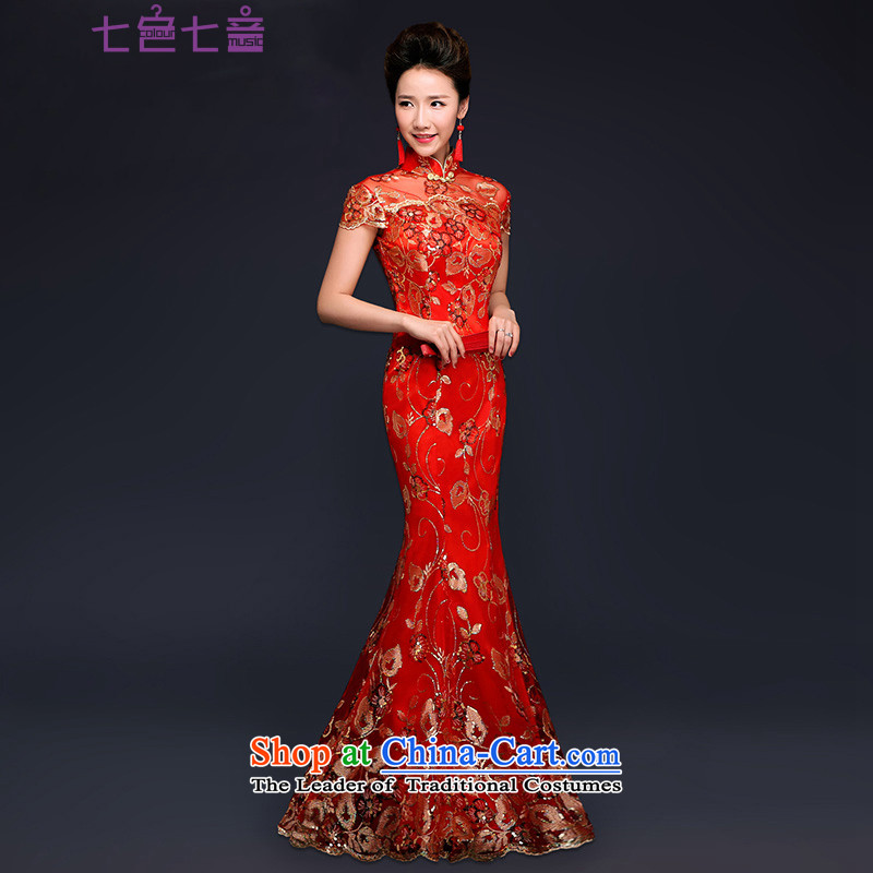 7 7 color tone�2015 new bride dress red packets transmitted to retro marriage shoulder length of Qipao�Q003 crowsfoot improved�RED�M 2 feet 1 waist