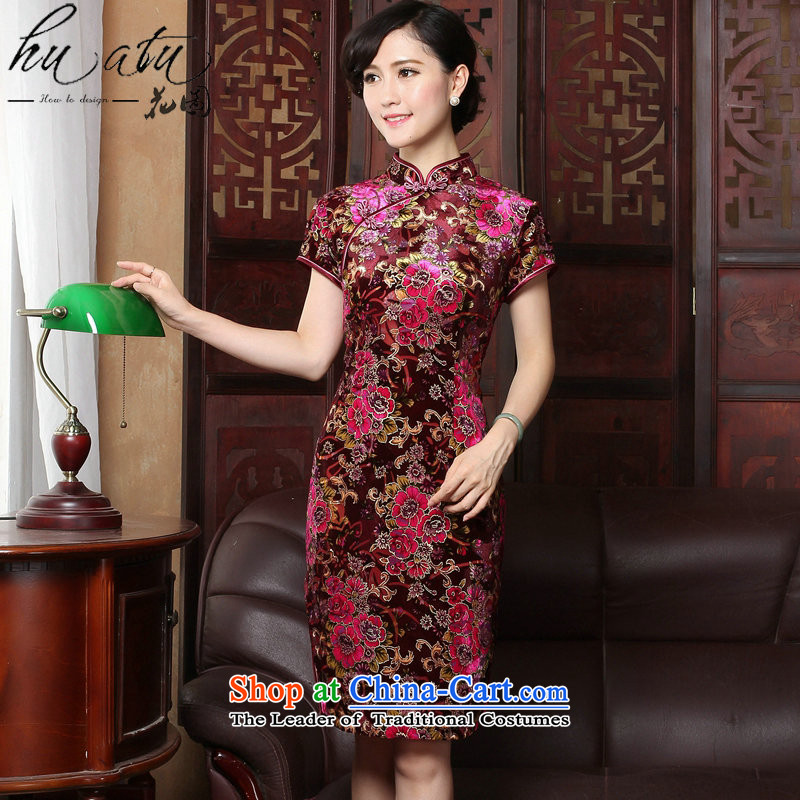 Figure for summer flowers new women's dresses retro collar cheongsam dress dress velvet Sau San short-sleeved improved qipao Tomoko spend?M