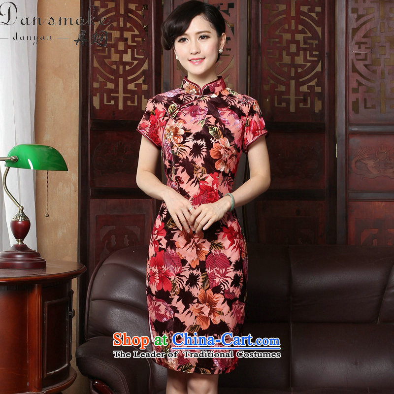 Dan smoke summer new women's dresses retro collar cheongsam dress dress velvet Sau San short-sleeved red Maple Leaf燤 improved Cheongsam