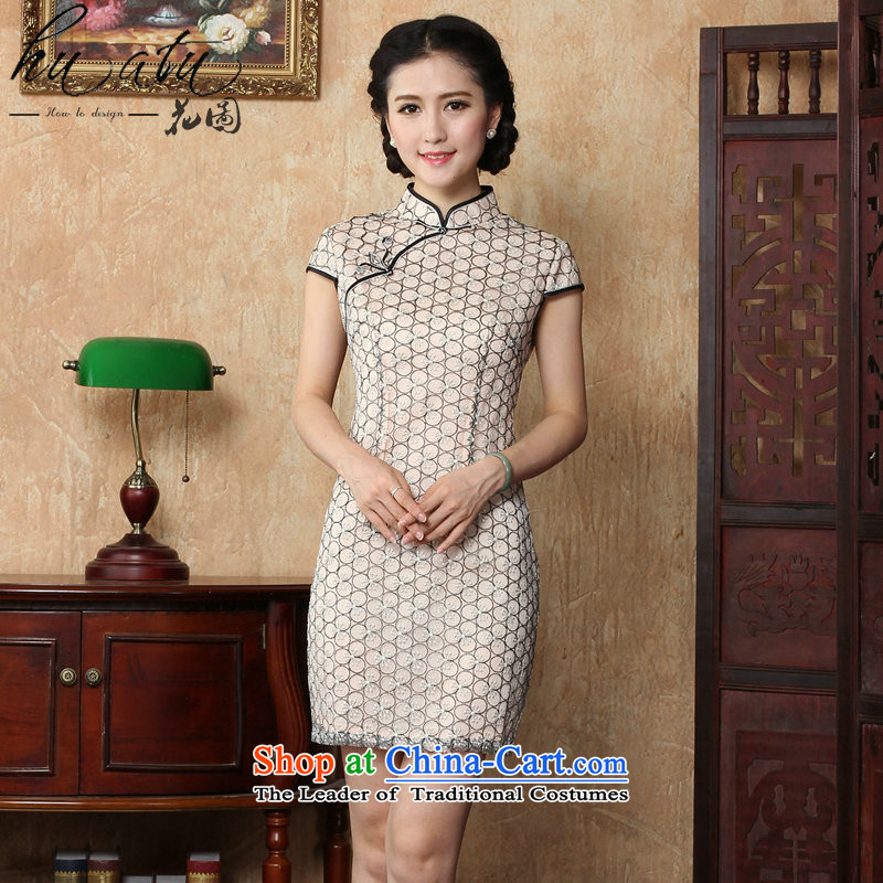 Figure for summer flowers new women's national wind cheongsam dress lace cheongsam dress stylish improvements Sau San retro short of Qipao picture color聽S