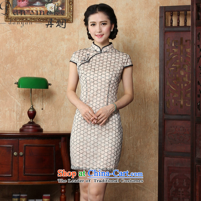 Dan smoke summer new cheongsam dress of ethnic women lace cheongsam dress stylish improvements Sau San retro short of Qipao picture color聽L