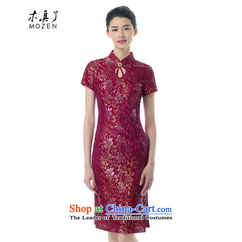 The Tang Dynasty outfits wood really spring and summer 2015 new women's retro cheongsam dress wedding banquet mother replacing 04 Excluding UNOPS deep red?M