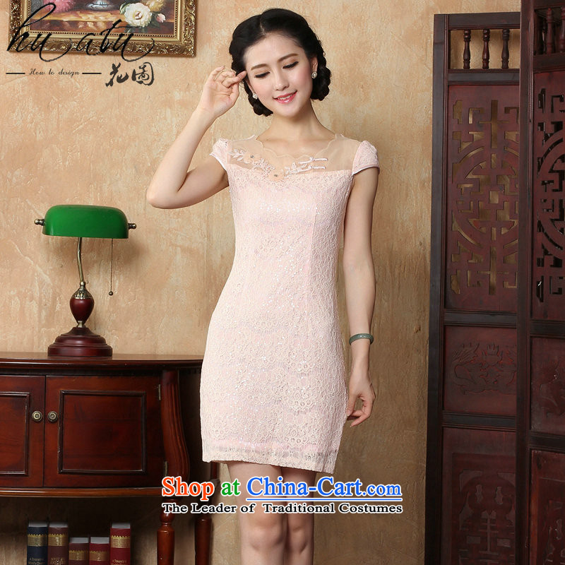 Figure for summer flowers new women's day-to-day personal sense of beauty package and tight short, lace cheongsam dress suit small pink dresses燲L