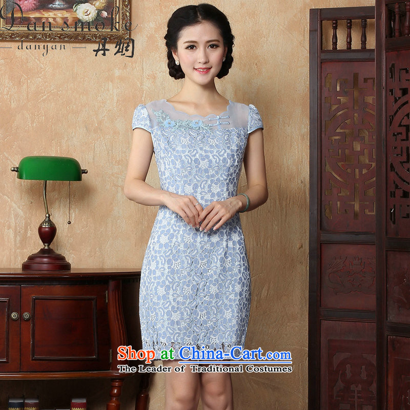 Dan smoke summer new women's day-to-day personal sense of beauty package and tight short, lace cheongsam dress suit small skirt light blue燤