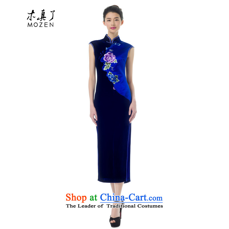 The Tang Dynasty outfits wood really spring 2015 new women's silk cheongsam dress improved elegant long skirt female 43281 Sau San 10 Deep Blue聽M