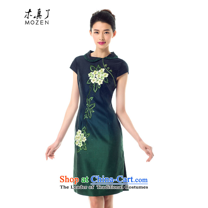 Wooden spring of 2015 really new cloud of incense yarn embroidery short cheongsam dress 21822 Female Sau San 14 dark green?M