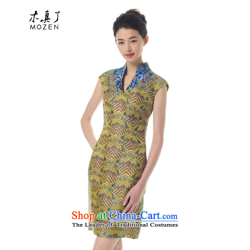 Wooden spring of 2015 really new women's skirt fashion of the Sau San embroidery cheongsam dress female 42752 13 Light yellow燲xl_a_