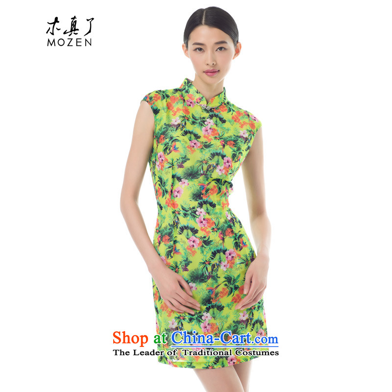 Wooden spring of 2015 is a new stylish package rotator cuff short cheongsam dress 42818 Female Sau San 15 light green?XL