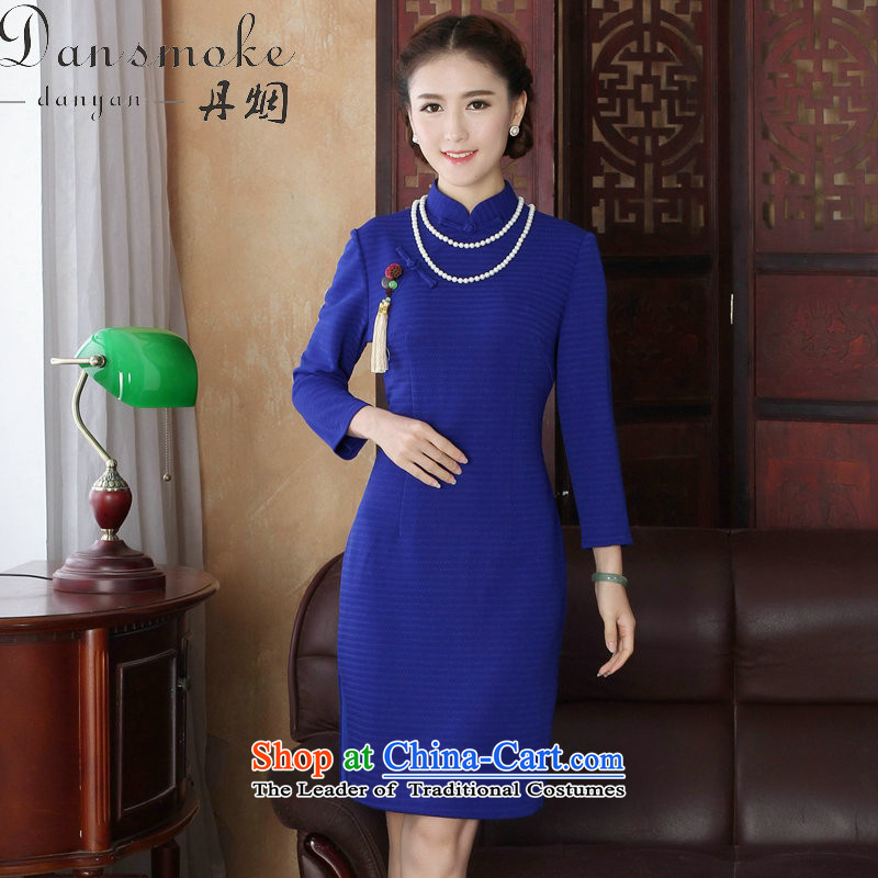 Dan smoke spring new women's dresses collar Chinese cheongsam look like grid improved ramp up Sau San 9 cuff qipao Figure�L color