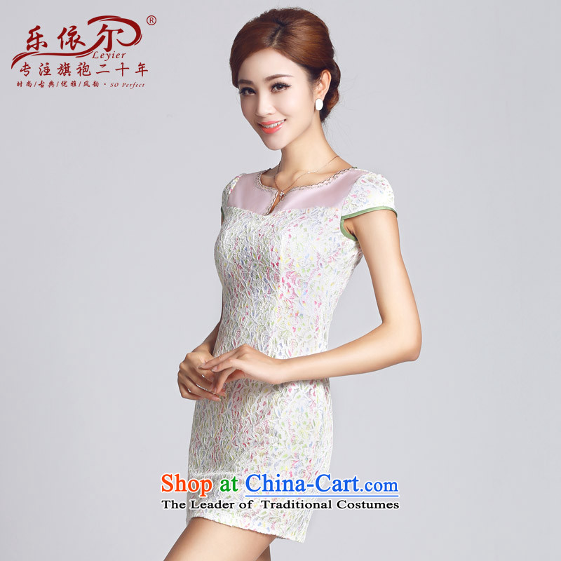 In accordance with the American's Spring New cheongsam lace pattern improved women's dress qipao short daily gentlewoman?2015?White?M