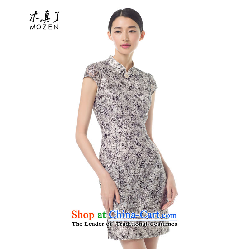 Wooden spring of 2015 really new female leopard short skirt style qipao) Slimming lace dresses 42930 01 Black�M