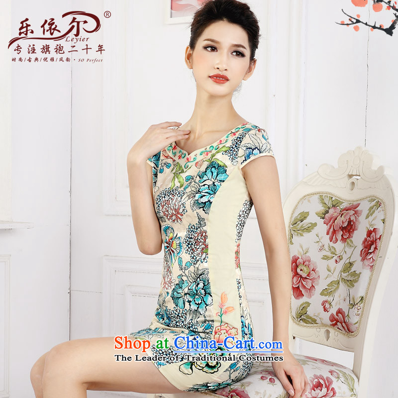 In accordance with the American's spring 2015 new short cheongsam dress female retro stamp improved embroidery girls qipao daily green�M