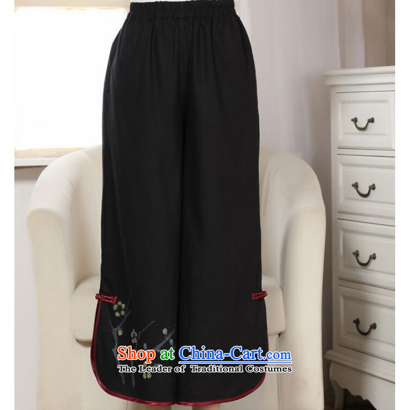 Ms. Tang Jing court intended pants summer costume Han-wide-legged pants national Wind Pants female black?L
