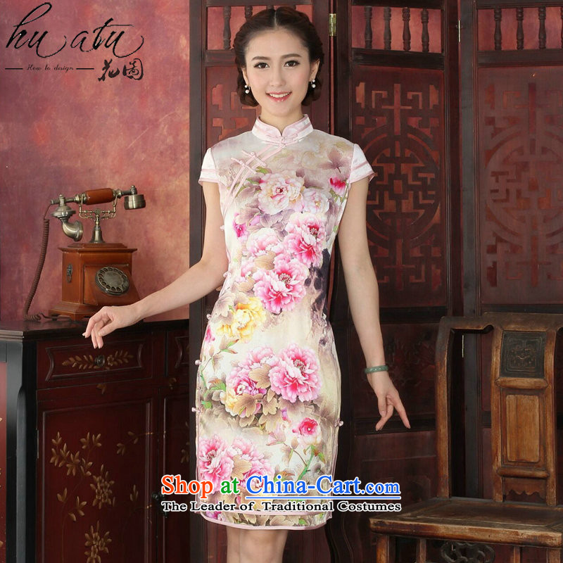 Figure for summer flowers cheongsam dress retro Silk Cheongsam country color Tianxiang double piping herbs extract qipao cheongsam dress as dinner color聽M