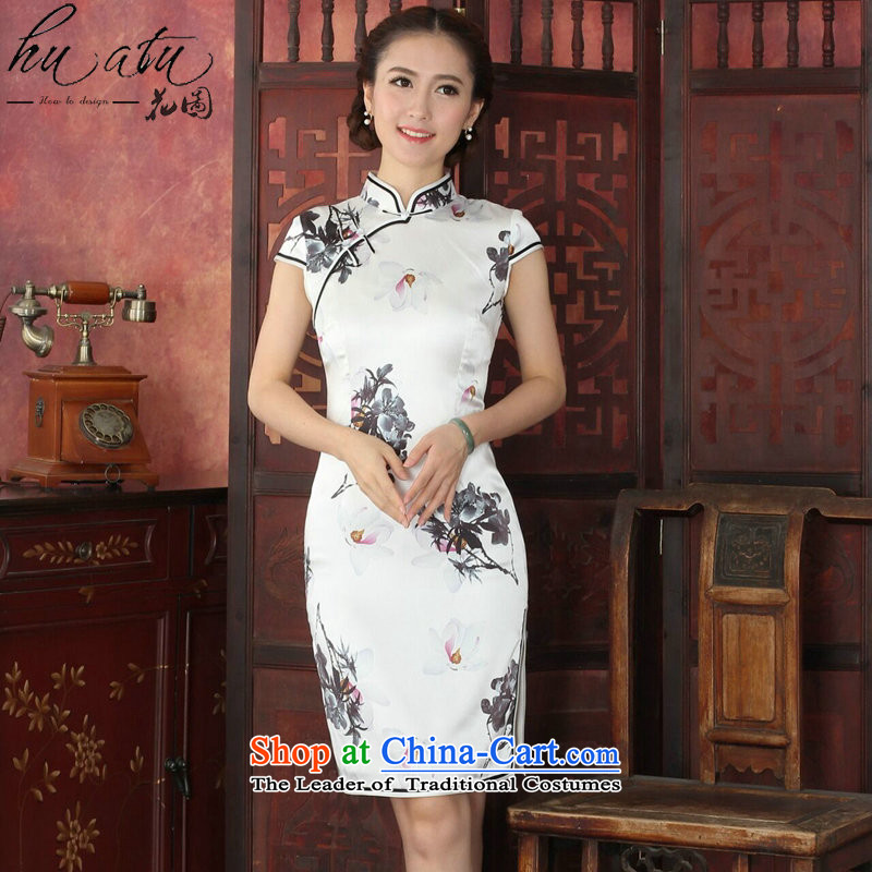Figure for summer flowers cheongsam new women's Chinese improved collar boutique herbs extract qipao retro silk paintings in India ink paintings qipao燣
