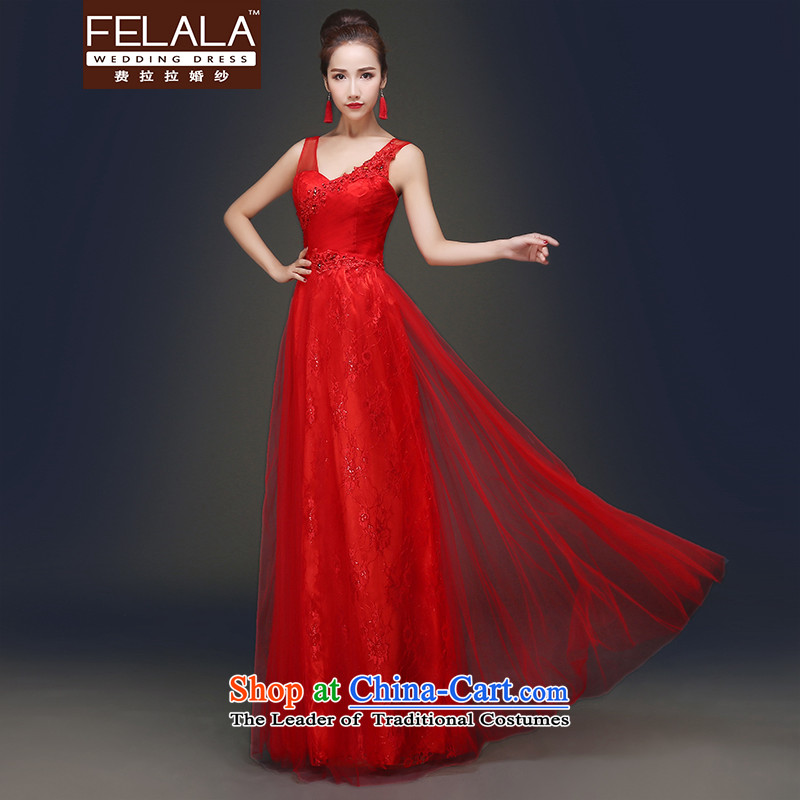 Ferrara�in spring and summer 2015 new shoulders and sexy V-Neck bows service light wedding dresses red�S