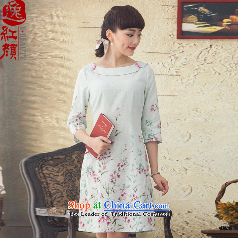 A Pinwheel Without Wind hallway nation Yat-sleeved retro stamp cotton linen dresses during the spring and autumn 2015 Women's new Sau San Green?M