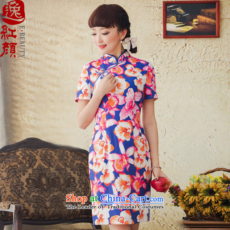 A Pinwheel Without Wind color flower Chinese Yat stamp cheongsam dress improved Stylish spring and summer 2015 new retro cheongsam dress red?S