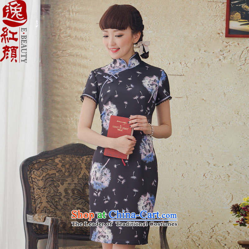 A Pinwheel Without Wind looked incense improvements Yat stamp short of Qipao Stylish spring_summer 2015_ Ms. daily cheongsam dress black聽L