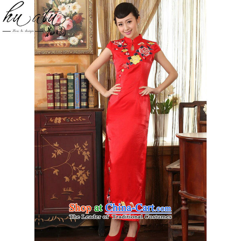 Figure qipao summer flowers female Chinese cheongsam dress collar embroidery video thin elegant brides Sau San long qipao gown red L