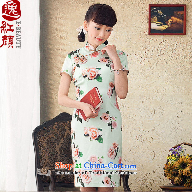 A Pinwheel Without Wind poem about stamp Yat improved cheongsam dress stylish 2015 Spring_Summer Load New Silk Cheongsam dress retro green聽M