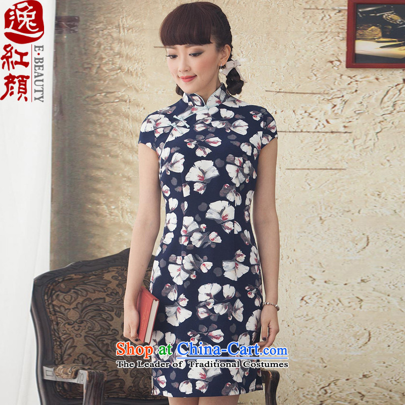 A Pinwheel Without Wind painting spring and autumn Yat short of stamp improved new stylish skirt qipao Ms. daily cheongsam dress blue聽2XL