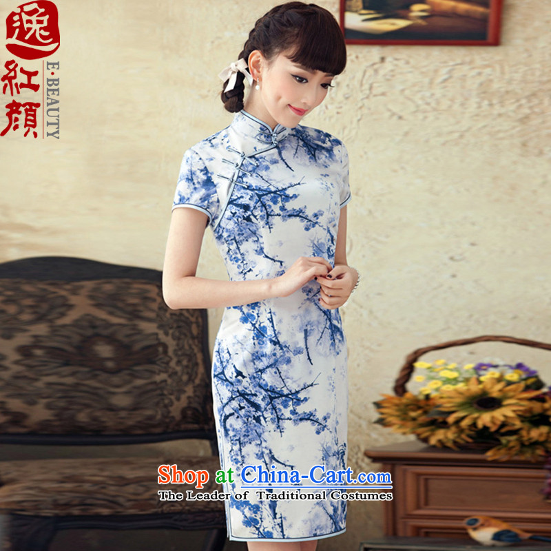 A Pinwheel Without Wind Yat MGM Studios聽spring and summer 2015 installed new Silk Cheongsam improved stylish herbs extract cheongsam dress retro blue聽 XL