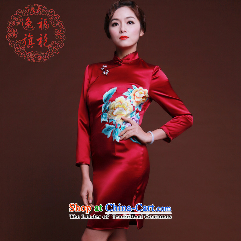 Well marmalade red Yat Silk Cheongsam, long-sleeved new embroidery cheongsam dress short of Chinese advanced customization deep red燤 20 day shipping