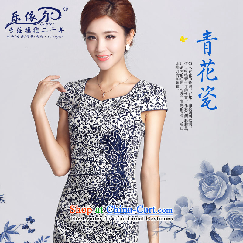 In accordance with the American's Spring New cheongsam porcelain retro ethnic improved cheongsam dress daily retro聽2015聽porcelain color聽L