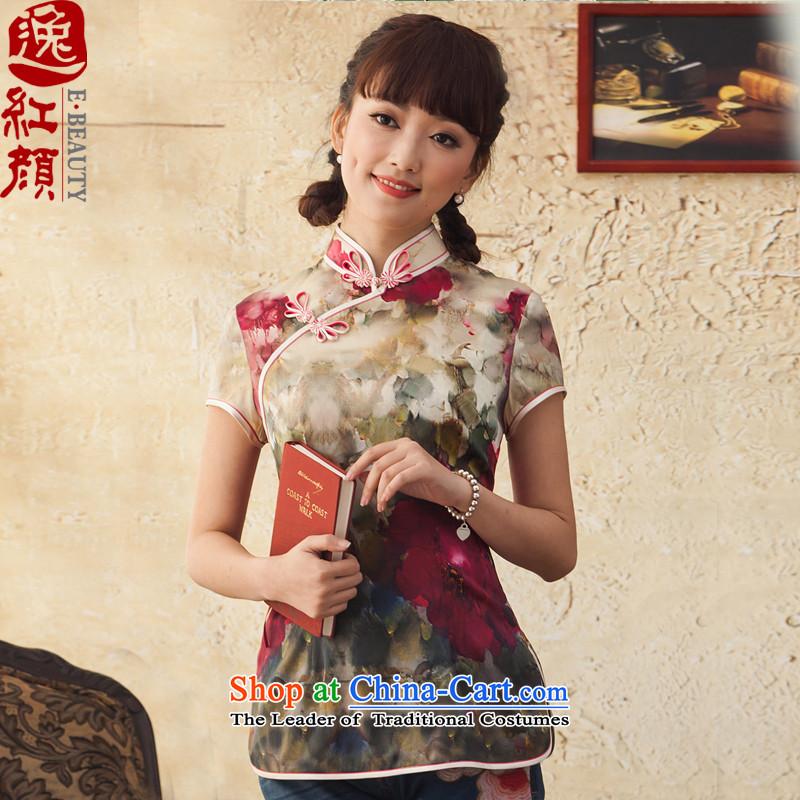 A Pinwheel Without Wind Fairy Peony Plaza New Silk Cheongsam shirt ethnic improved Ms. Tang dynasty 2015 Spring/Summer Load the Red?M