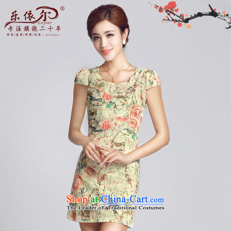 In accordance with the American's 2015 new improved gentlewoman qipao retro flower embroidery short skirt daily video QIPAO_ thin package and pink燣