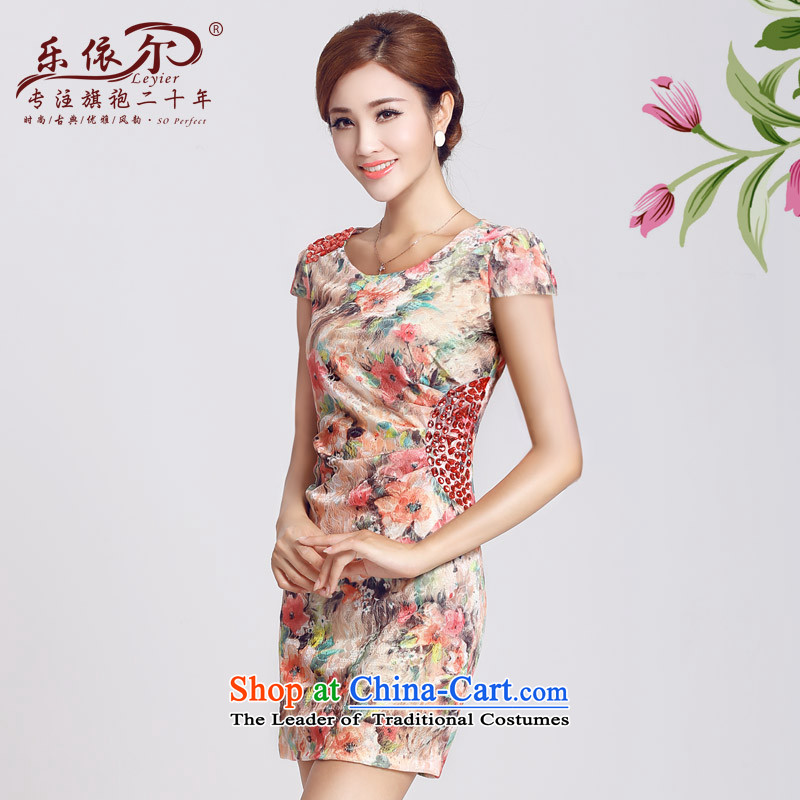 In accordance with the American's spring short-sleeved improved qipao female skirt the Sau San retro package and daily gentlewoman short qipao?2015 New Red?XL