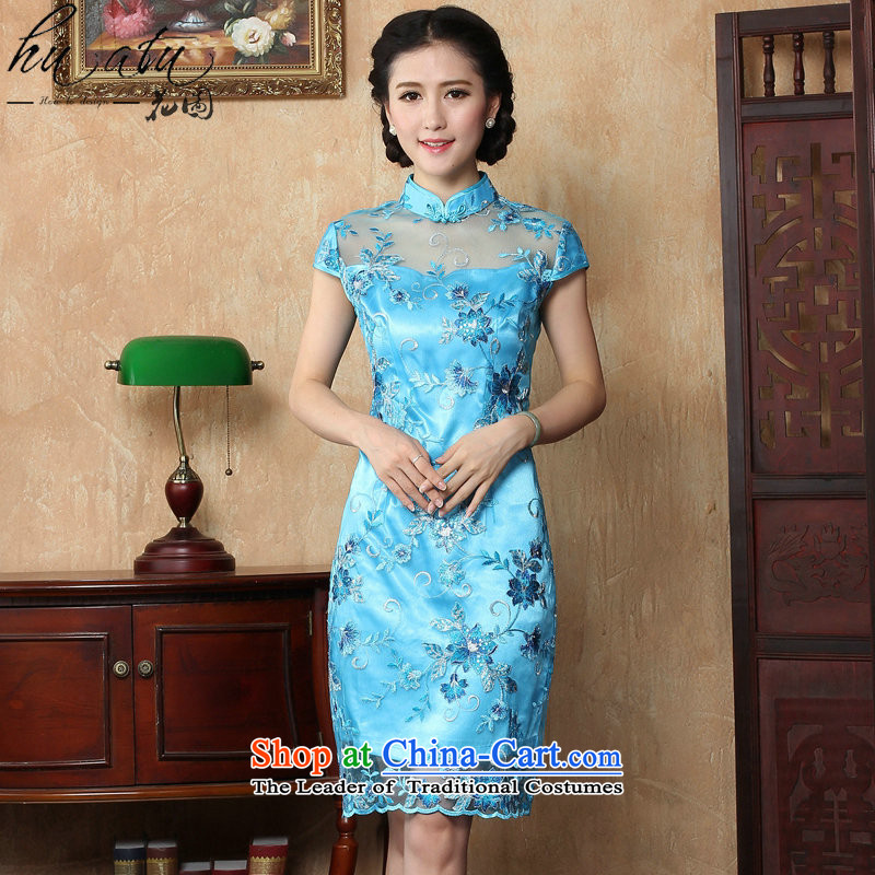 Take the new summer figure improved female cheongsam dress Stylish retro look like Chinese lace qipao gown of daily short blue�L
