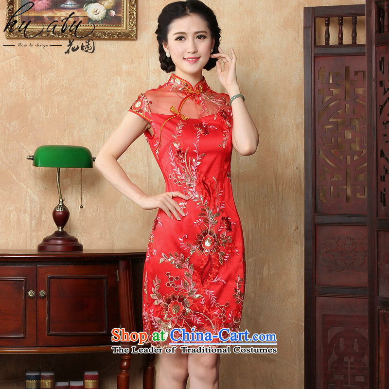 Dan smoke new summer improved female cheongsam dress Stylish retro look like Chinese lace qipao gown of daily short red?S