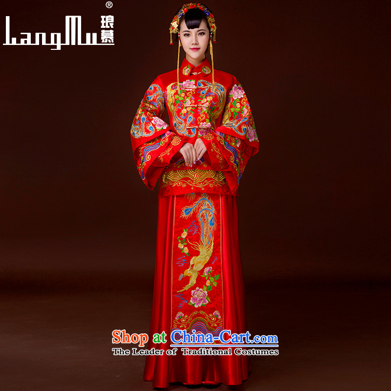 The 2015-soo Luang Wo Service Bridal Chinese wedding dress longfeng use Tang dynasty bows services red qipao Soo kimono�L